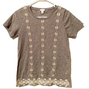 J Crew Factory Arrow Embroidered Short Sleeve